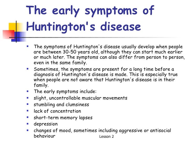 the causes symptoms and treatment of huntingtons disease Huntington disease (hd) is a rare neurodegenerative disorder of the central   cerebellar signs can appear sporadically, similar to the presence of hypo- and.