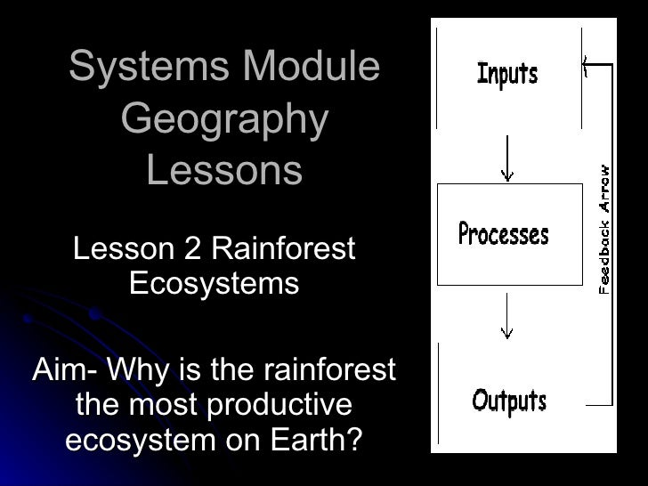 Systems Module Geography Lessons Lesson 2 Rainforest Ecosystems Aim- Why is the rainforest the most productive ecosystem o...