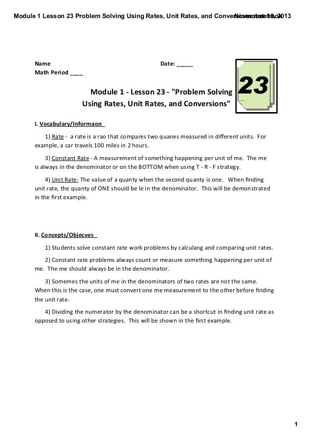 Module 1 Lesson 23 Problem Solving Using Rates, Unit Rates, and Conversions.notebook November 19, 2013  Name  Math Period ...