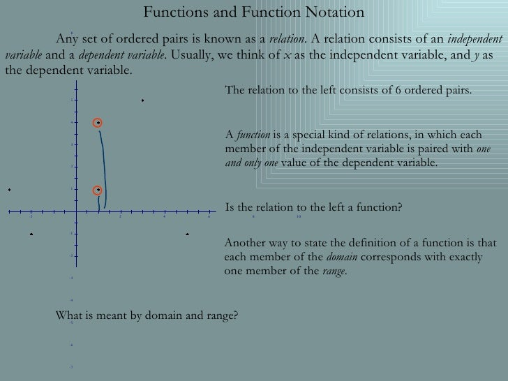 Functions and Function Notation Any set of ordered pairs is known as a  relation . A relation consists of an  independent ...