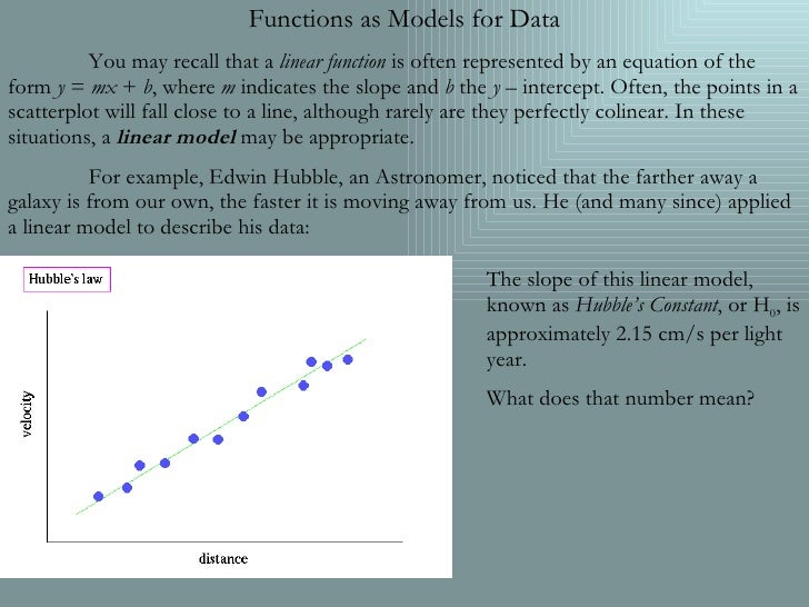 Functions as Models for Data You may recall that a  linear function  is often represented by an equation of the form  y  =...