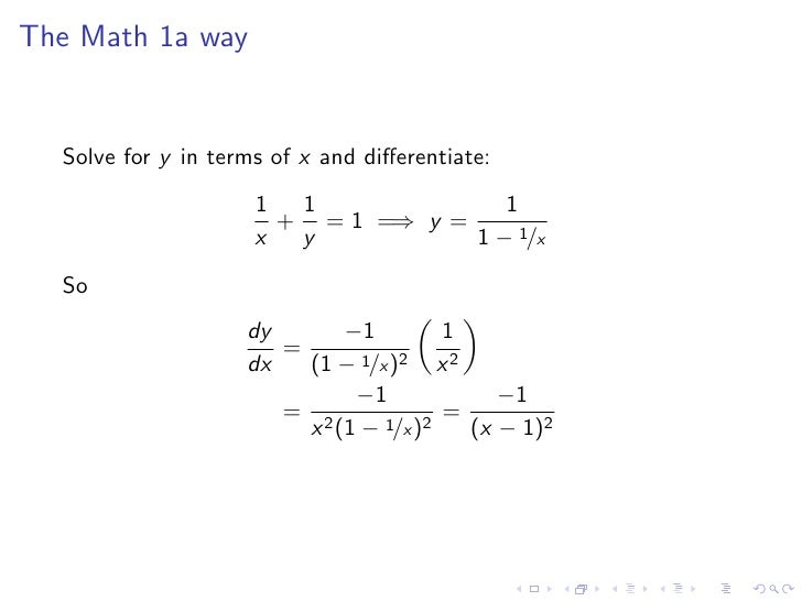 Lesson 24: Implicit Differentiation on
