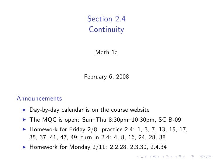 Section 2.4                         Continuity                             Math 1a                          February 6, 20...