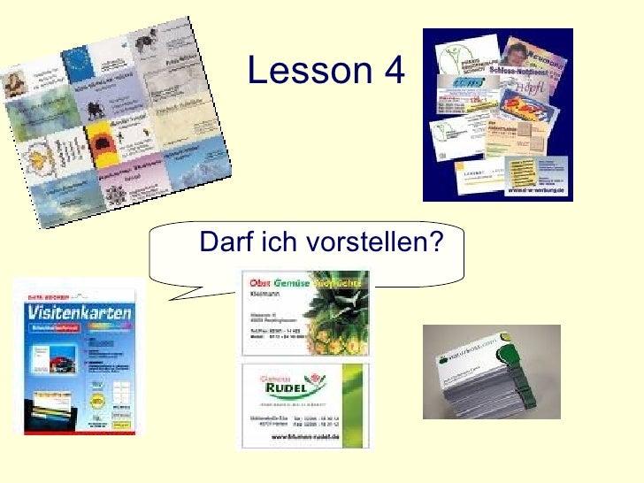 Lesson 4 Darf ich vorstellen?