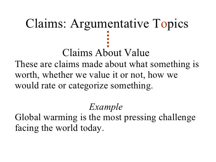 claim of value example topics