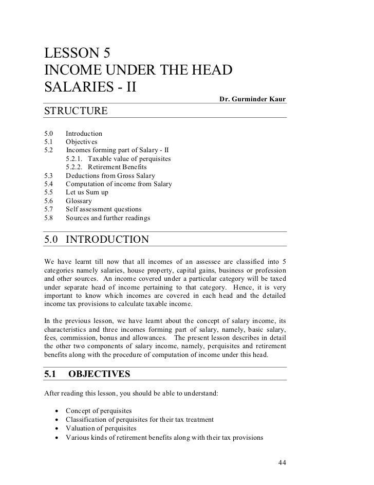 LESSON 5INCOME UNDER THE HEADSALARIES - II                                                               Dr. Gurminder Kau...
