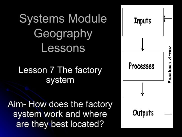 Systems Module Geography Lessons Lesson 7 The factory system Aim- How does the factory system work and where are they best...