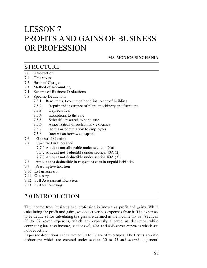 LESSON 7PROFITS AND GAINS OF BUSINESSOR PROFESSION                                                    MS. MONICA SINGHANIA...