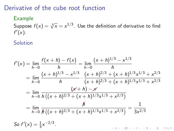derivative of square root of x