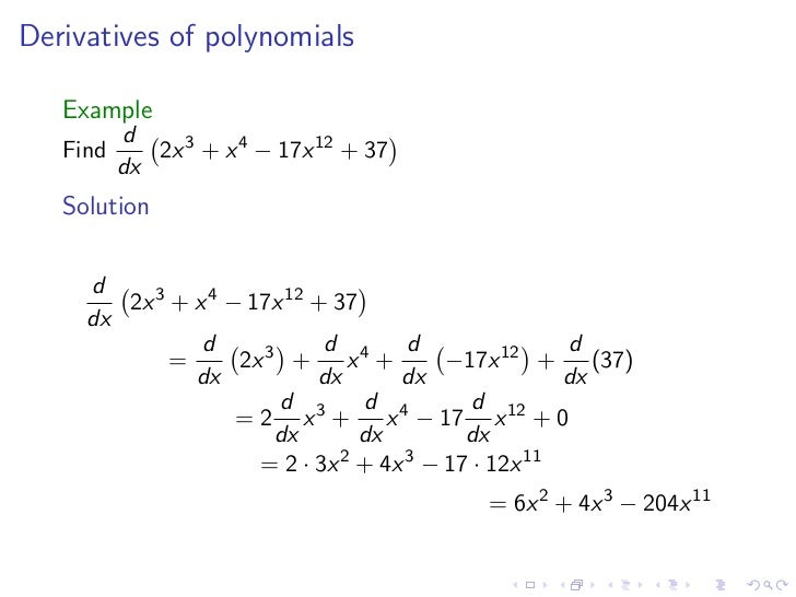 Lesson 8: Derivatives of Polynomials and Exponential functions