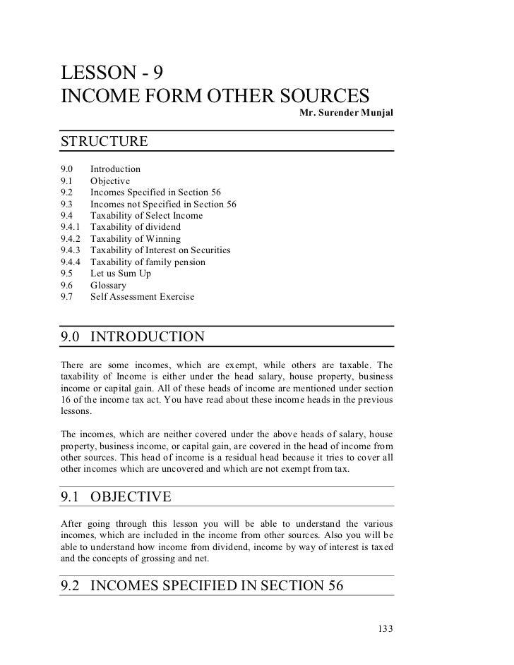 LESSON - 9INCOME FORM OTHER SOURCES                                                           Mr. Surender MunjalSTRUCTURE...