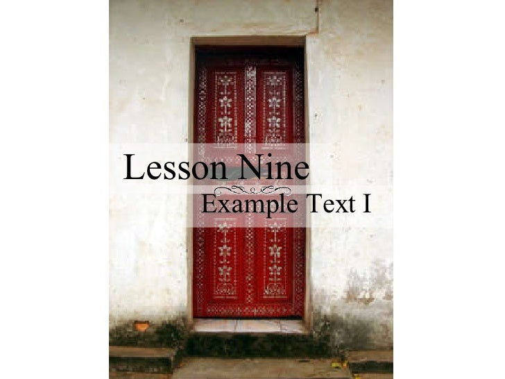 Lesson Nine Example Text I