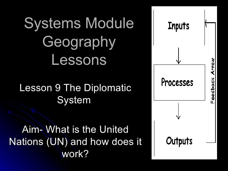 Systems Module Geography Lessons Lesson 9 The Diplomatic System  Aim- What is the United Nations (UN) and how does it work?