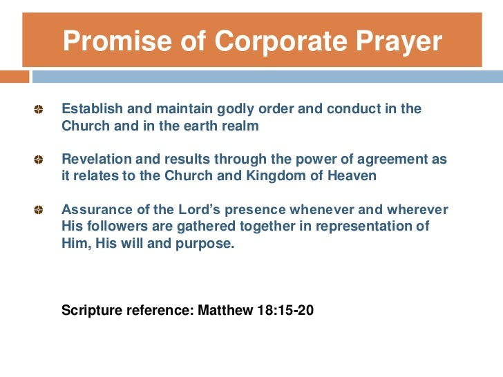 Principles Of Corporate Prayer