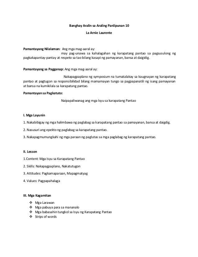 Banghay-Aralin (Lesson Plan)