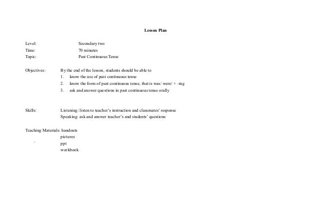 lesson plan past simple for celta Lesson plan: present perfect and past simple using for  celta tp lesson plan front page  lesson plan: past perfect grade: .