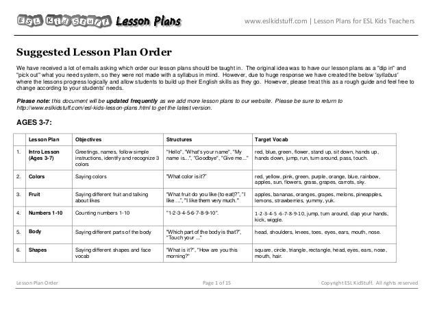 Lesson plan order eslkidstuff lesson plans for esl kids teachers lesson plan order page m4hsunfo
