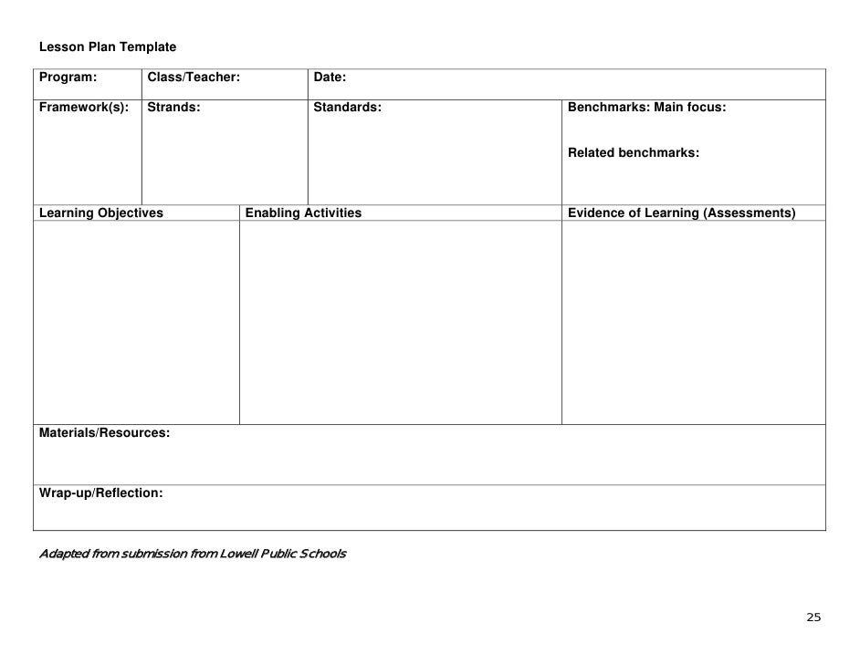 substitute teacher lesson plan template