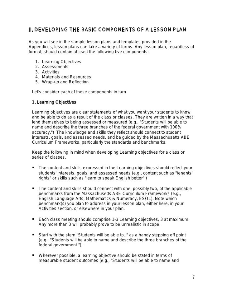 Lesson Planning Guide - Developing a lesson plan template