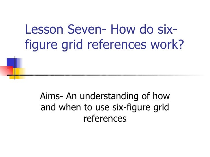 Lesson Seven- How do six-figure grid references work?  Aims- An understanding of how and when to use six-figure grid refer...