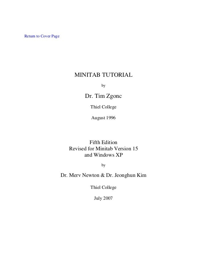 Return to Cover Page                            MINITAB TUTORIAL                                        by                ...