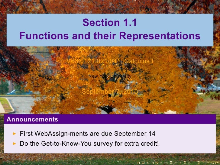 Section 1.1    Functions and their Representations                    V63.0121.021/041, Calculus I                        ...