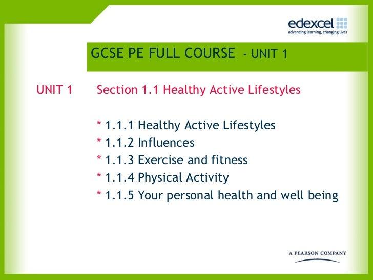 GCSE PE FULL COURSE   - UNIT 1 <ul><li>UNIT 1 Section 1.1 Healthy Active Lifestyles </li></ul><ul><li>*  1.1.1 Healthy Act...