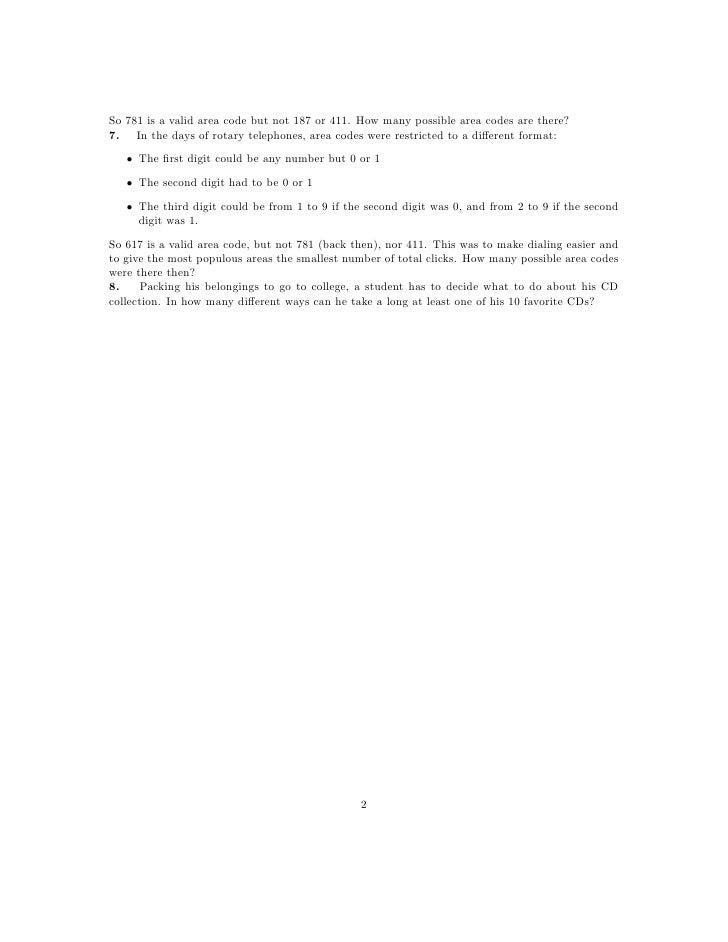 Worksheet The Basic Principle of Counting – Counting Principle Worksheet