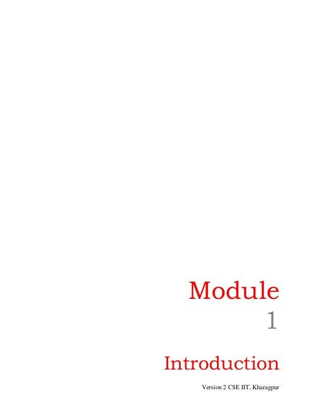 Module       1Introduction   Version 2 CSE IIT, Kharagpur