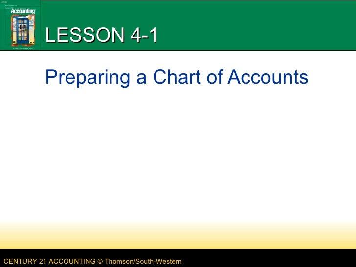 LESSON 4-1 Preparing a Chart of Accounts