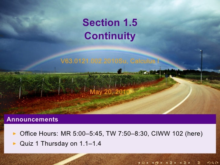 Section 1.5                       Continuity                  V63.0121.002.2010Su, Calculus I                          New...