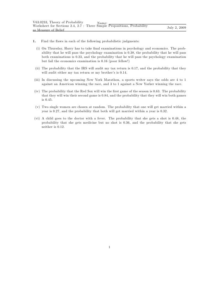 Worksheet Three Simple Propositions Probability As A