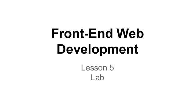 Front-End Web Development Lesson 5 Lab