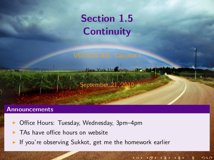 Section 1.5                         Continuity                      V63.0121.021, Calculus I                           New...