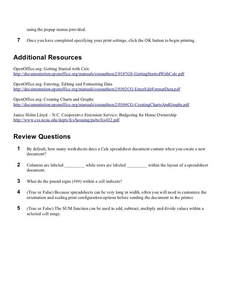 Open Office Calc : Lesson 05