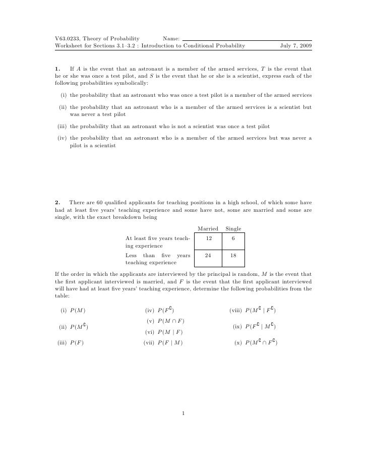 Worksheet: Conditional Probability