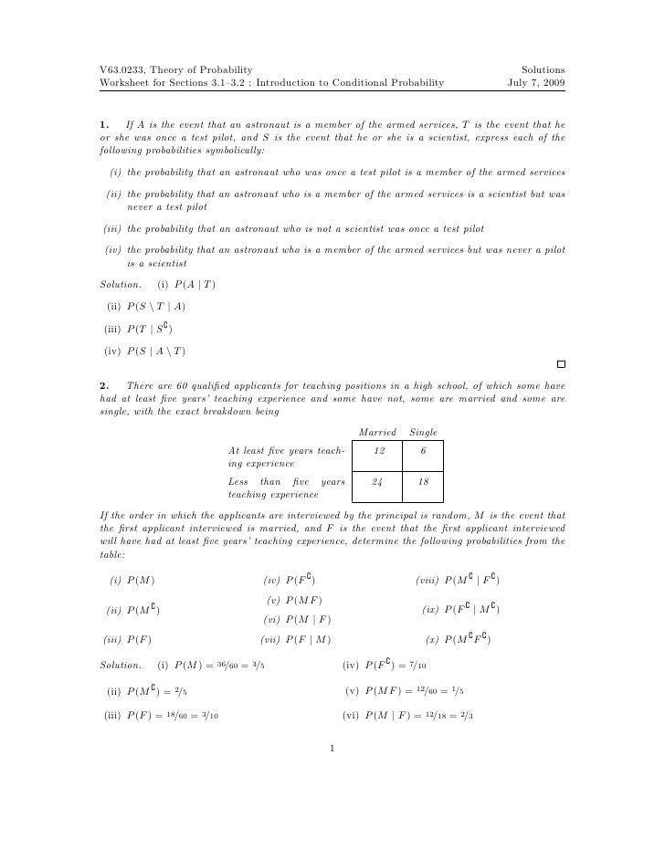 Worksheet: Conditional Probability (solutions)