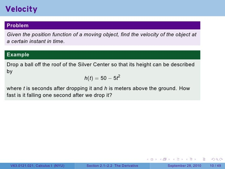 Lesson 7 The Derivative Section 21 Slide