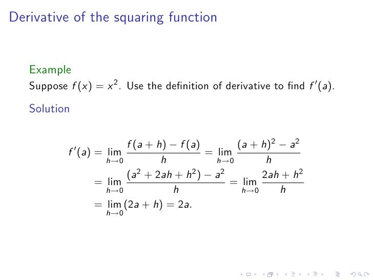Lesson 7-8: Derivatives and Rates of Change, The Derivative