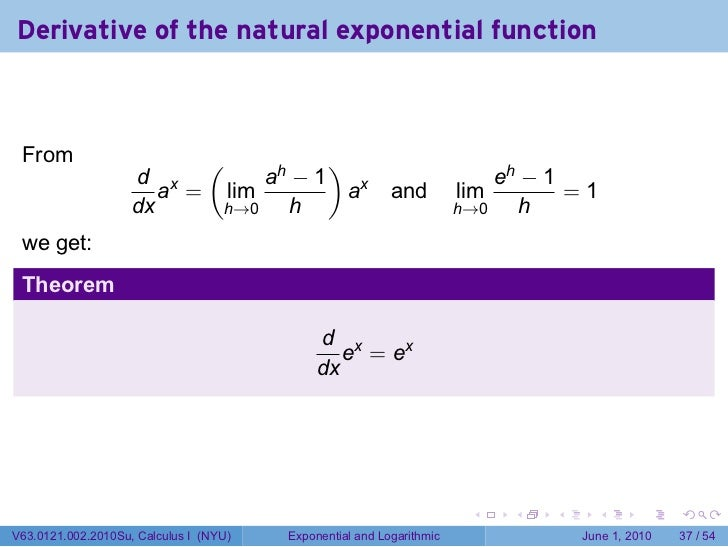 derivative of exponential function pdf