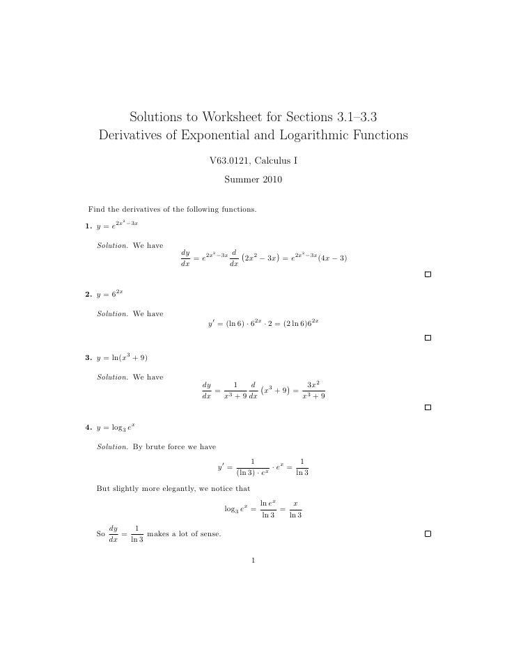 Derivatives Practice Worksheet - Samsungblueearth