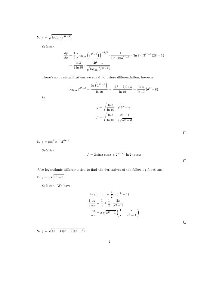 Lesson 8 Derivatives of Logarithmic and Exponential Functions works – Exponential Worksheet