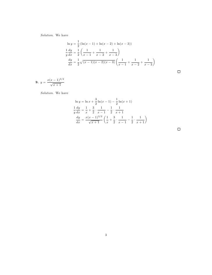 Lesson 8 Derivatives of Logarithmic and Exponential Functions works – Derivatives Worksheet