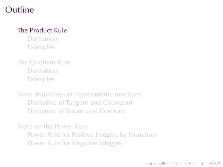 Lesson 9 The Product And Quotient Rule