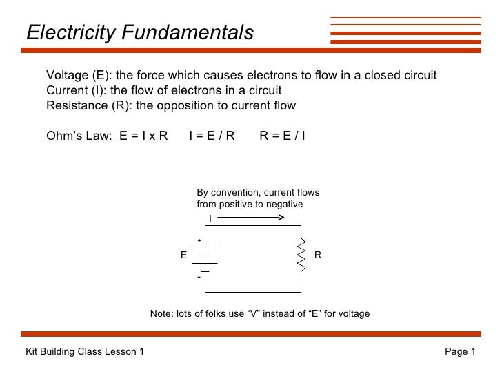 Electricity Fundamentals + - By convention, current flows from positive to negative E R Voltage (E): the force which cause...