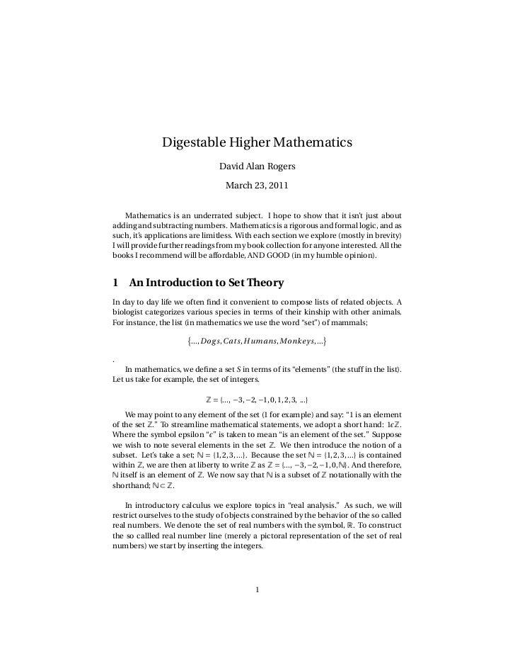 Digestable Higher Mathematics                                  David Alan Rogers                                     March...