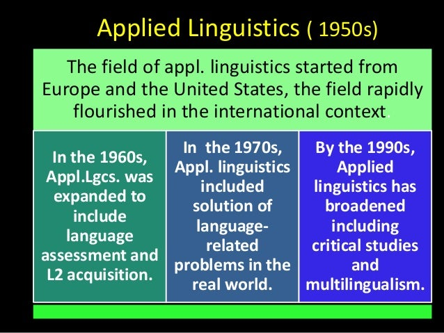 applied linguistics Why study applied linguistics applied linguistics is concerned with the  practical issues of language: acquisition of second or foreign languages,  language.