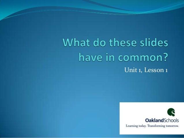Unit 1, Lesson 1
