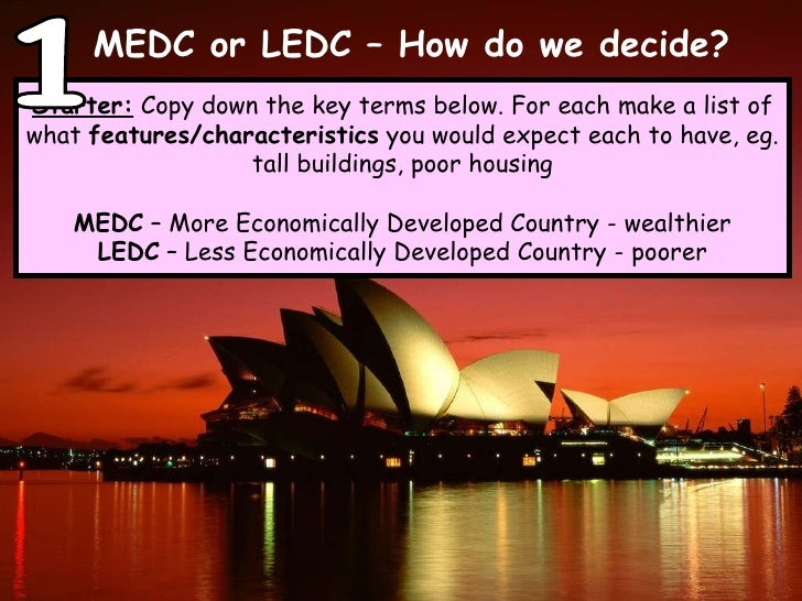 MEDC or LEDC – How do we decide? Starter:  Copy down the key terms below. For each make a list of what  features/character...