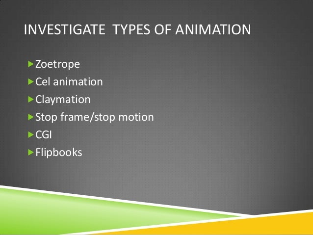 Lesson 1 different types of animation
